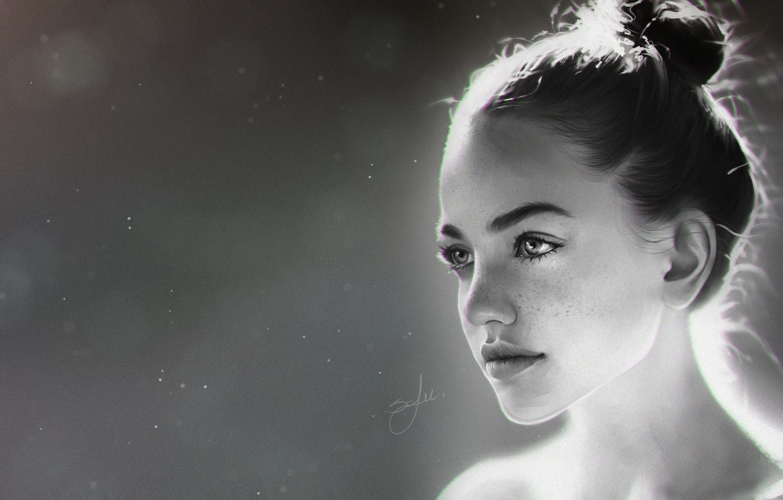 Фото обои Девушка, Girl, Глаза, Арт, Beautiful, Art, Красивая, Background, Minimalism, Sweet, Черно - белое, by Sofie …