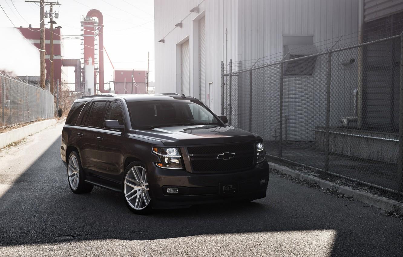 Фото обои Chevrolet, Black, Lights, American, Tahoe, Sight