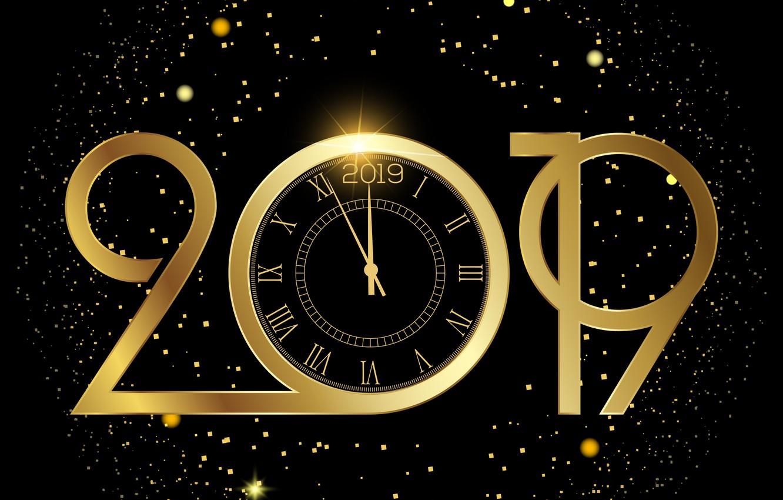 Фото обои фон, золото, Новый Год, цифры, golden, New Year, Happy, 2019