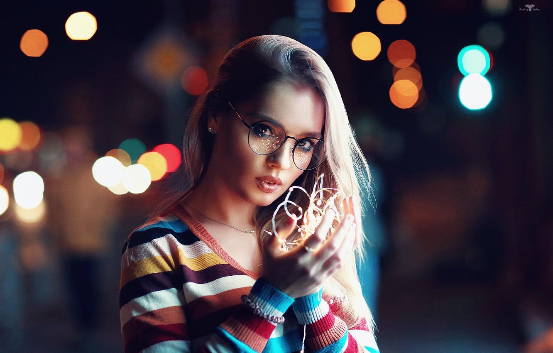 Фото обои девушка, огни, очки, Катерина, Dmitry Arhar
