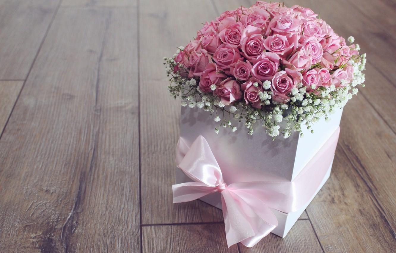 Фото обои цветы, коробка, розы, букет, розовые, бант