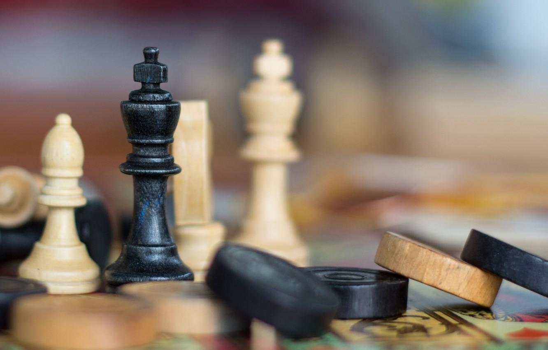 Фото обои макро, шахматы, фигуры, шашки