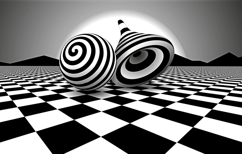 Фото обои белое, шар, черное, юла