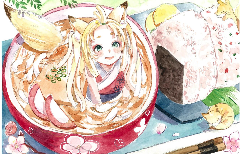 Фото обои сакура, девочка, лисичка, лисята, онигири, удон