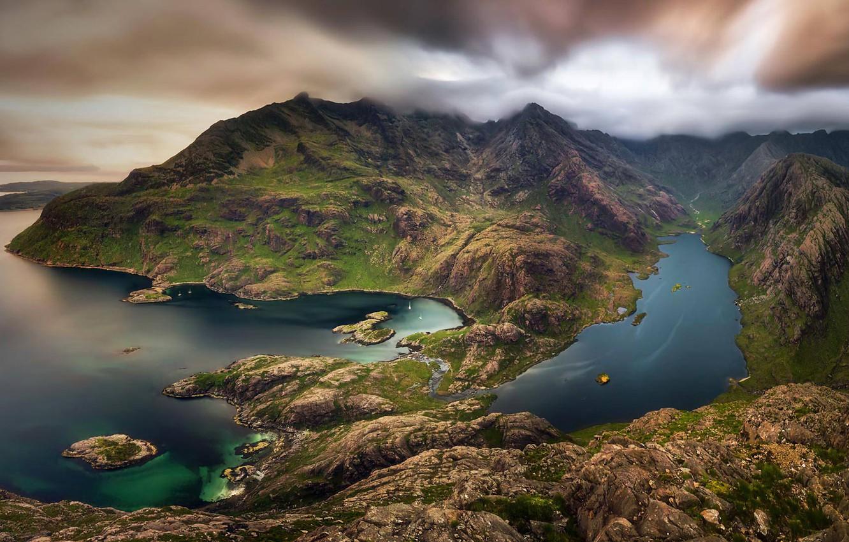 Фото обои горы, озеро, Шотландия, остров Скай