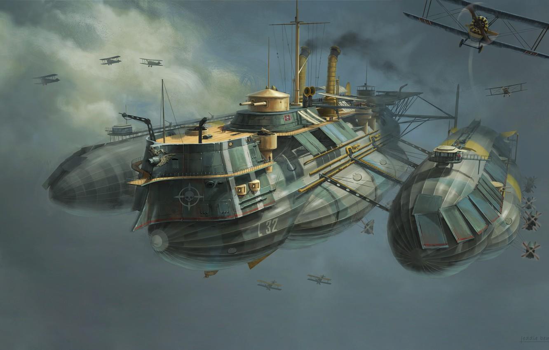 Фото обои Рисунок, Самолеты, Судно, Арт, Art, Фантастика, Concept Art, WW1, Воздушное судно, Eddie Bennun, Ilustration, Flying …
