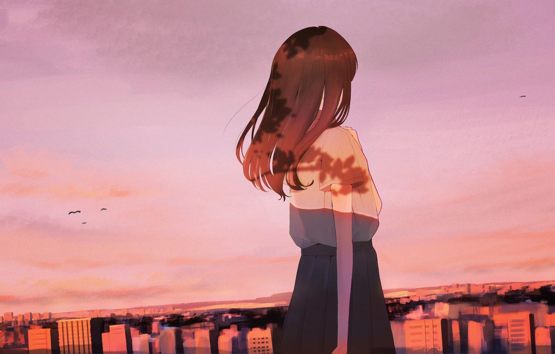 Фото обои небо, город, рисунок, девочка, ma_tochichi