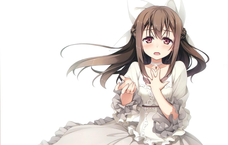 Фото обои девочка, бант, белое платье, длинные волосы, оборки, вытянула правую руку, чокер, by kantoku