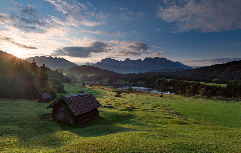 Обои Облака, бавария, германия, горы, природа, свет. Природа foto 14