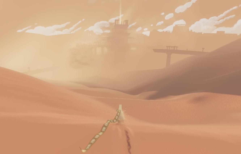 Фото обои облака, пейзаж, пустыня, дюны, Путешествие, Journey