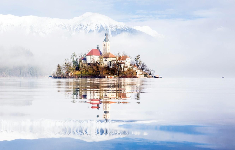 Фото обои туман, утро, Словения, озеро Блед