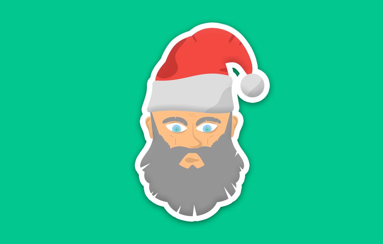 Фото обои зима, праздник, обои, минимализм, арт, дедушка, санта, картинка, шапочка, с новым годом, клаус, новогоднее, на …