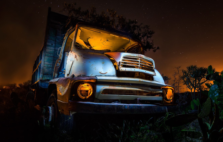 Фото обои машина, ночь, грузовик