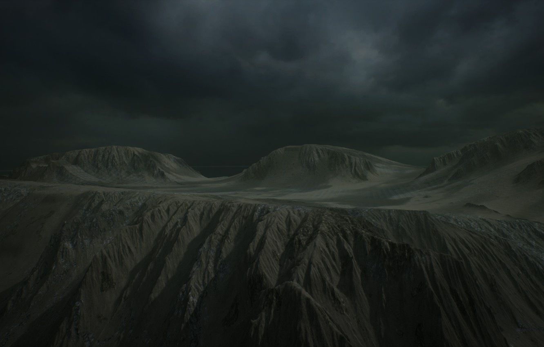 Фото обои облака, лучи, горы, тучи, туман, rock, landscape, alien, clouds, rays, fog, rendering, Unreal engine 4, …