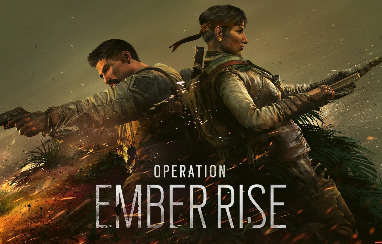 Фото обои пистолет, оружие, огонь, костер, солдаты, logo, бойцы, спецназ, ubisoft, гарпун, Amaru, Tom Clancy's Rainbow Six …
