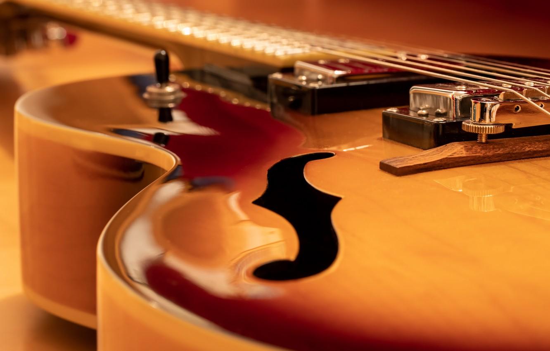 Фото обои макро, музыка, гитара