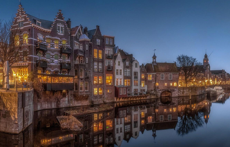 Фото обои город, отражение, дома, вечер, освещение, канал, Нидерланды, Голландия, Роттердам
