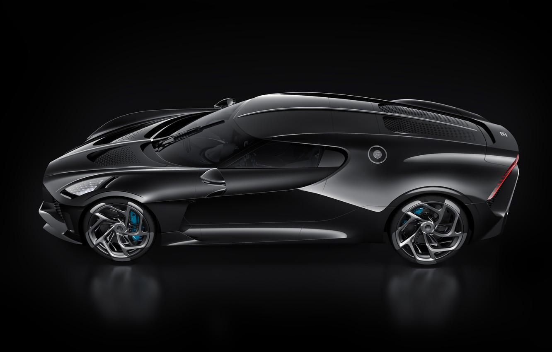 Фото обои машина, черный, Bugatti, стильный, гиперкар, La Voiture Noire