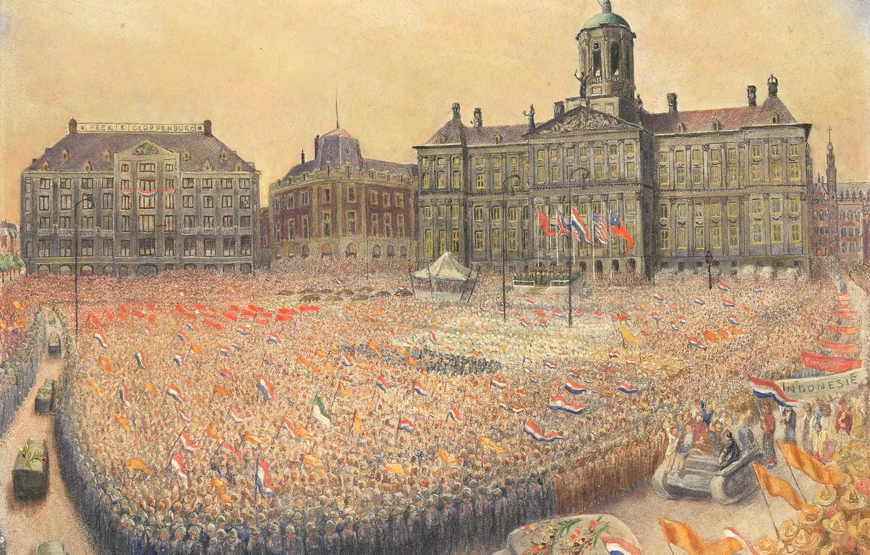 Фото обои Jan Gregoire, Ян Грегуар, Празднование Победы на Площади Дам 9 мая 1945