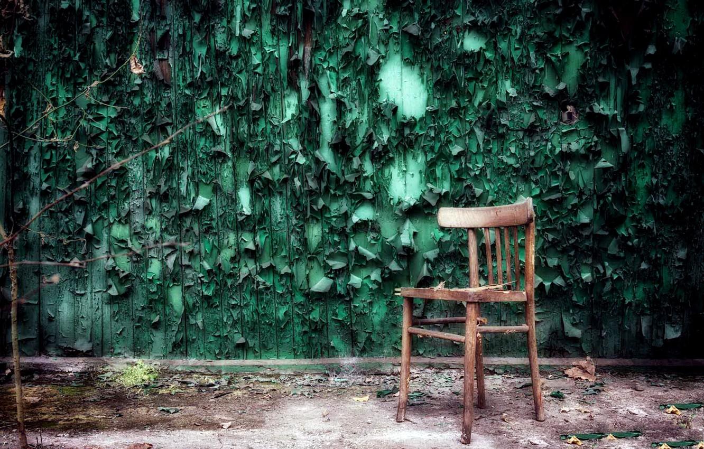 Фото обои комната, стена, стул, натурализм