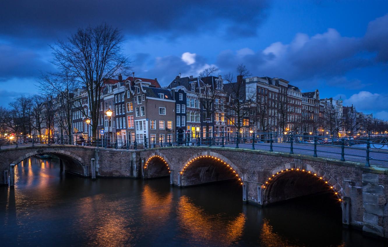 Фото обои Holland, Amsterdam, blue hour, Centrum