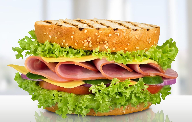Фото обои сыр, бутерброд, салат, тосты, ветчина