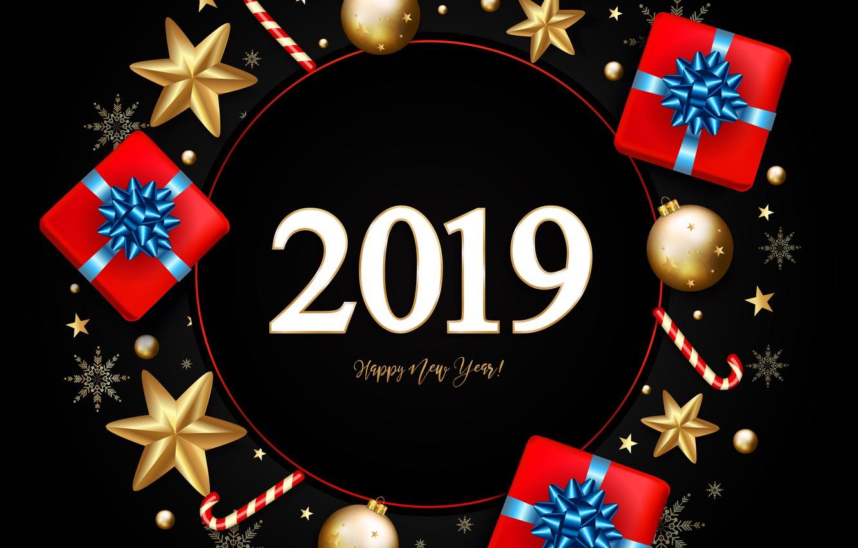 Фото обои снежинки, игрушки, подарки, Новый год, gold, золотые, snowflakes, 2019