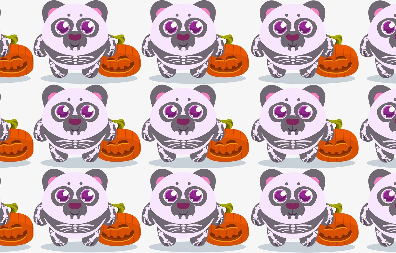 Фото обои праздник, арт, панда, тыква, хэллоуин, детская