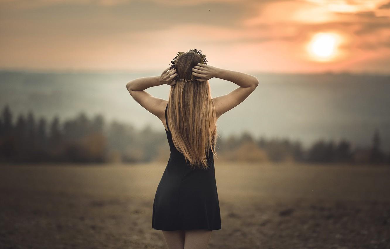 Фото обои девушка, закат, волосы, спина, фигура, платье, Jiri Tulach