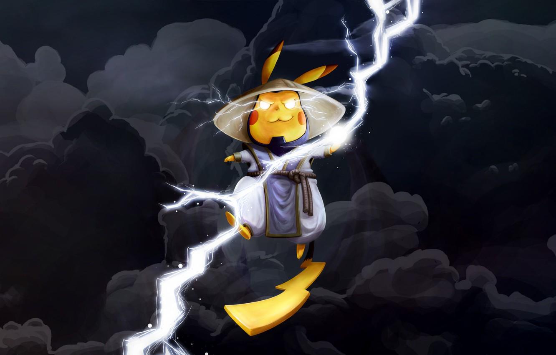 Фото обои Тучи, Молнии, Fantasy, Lightning, Mortal Kombat, Raiden, Pikachu, MK, madeinkipish, Pikachu-Raiden Fanart, Thiago Gualtieri, by …