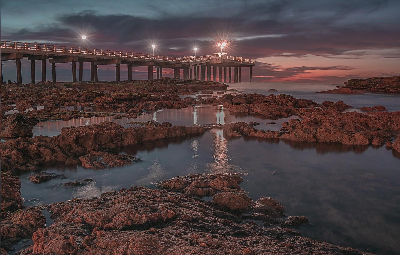 Фото обои закат, пирс, Аргентина, Асуль