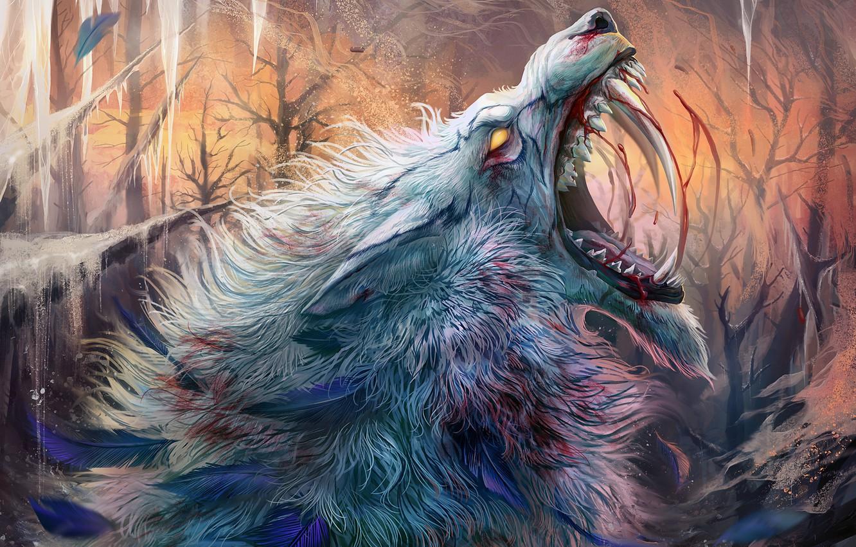 Фото обои холод, волк, лёд, шерсть, пасть, клыки, ужас, боль, оборотень, кровища, werewolf, матёрый, рёв, bu Alaiaorax
