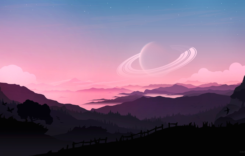 Фото обои fantasy, forest, Saturn, sky, trees, sunset, mountains, clouds, stars, birds, planet, artist, digital art, artwork, …