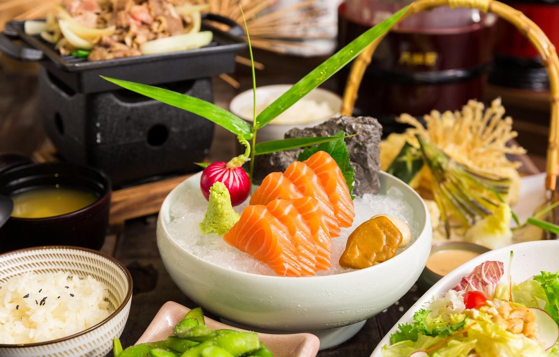 Фото обои рыба, лосось, китайская кухня