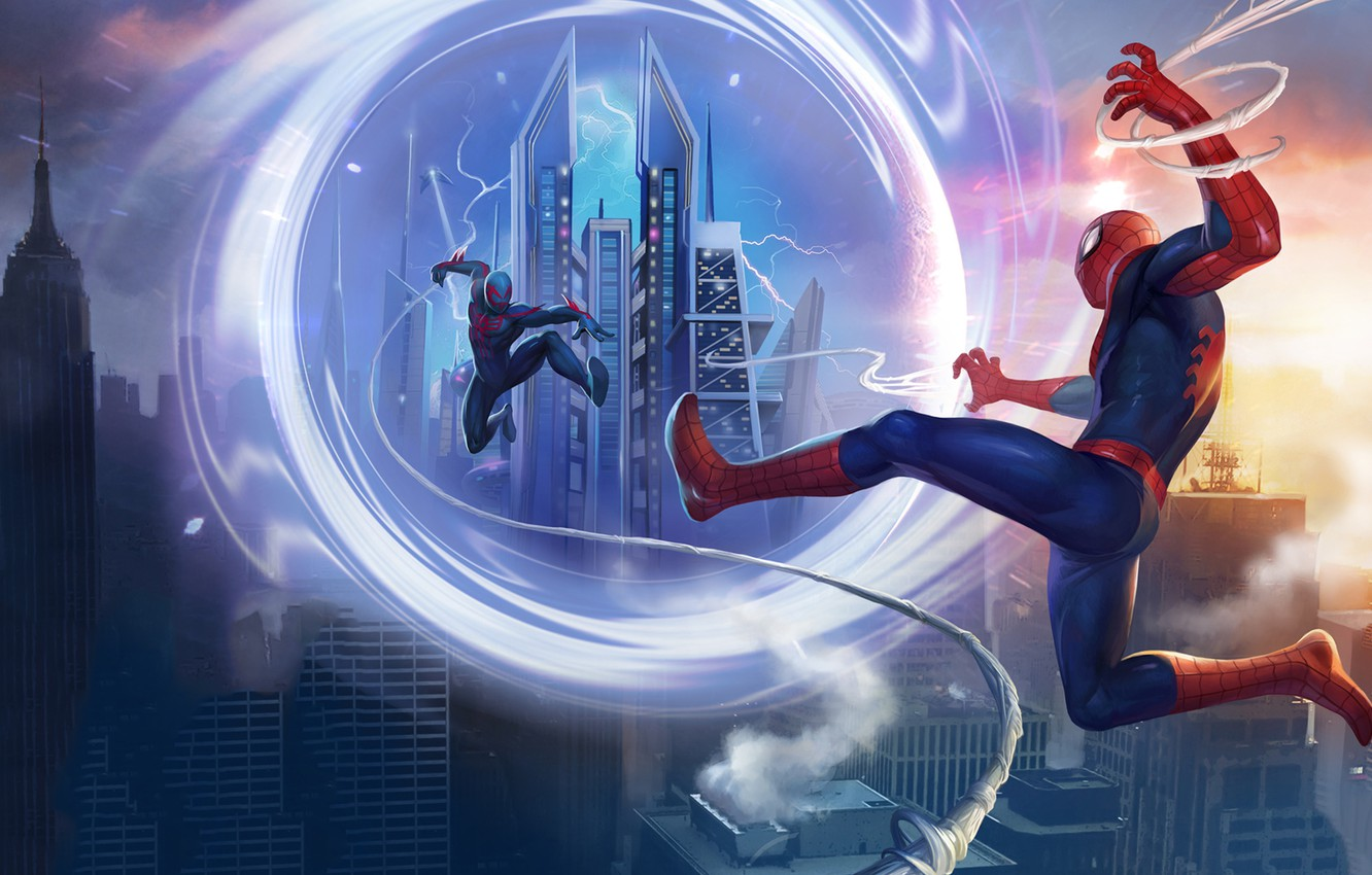 Фото обои portal, game, android, Marvel, IOS, spider-man unlimited, spider-verse, Gameloft