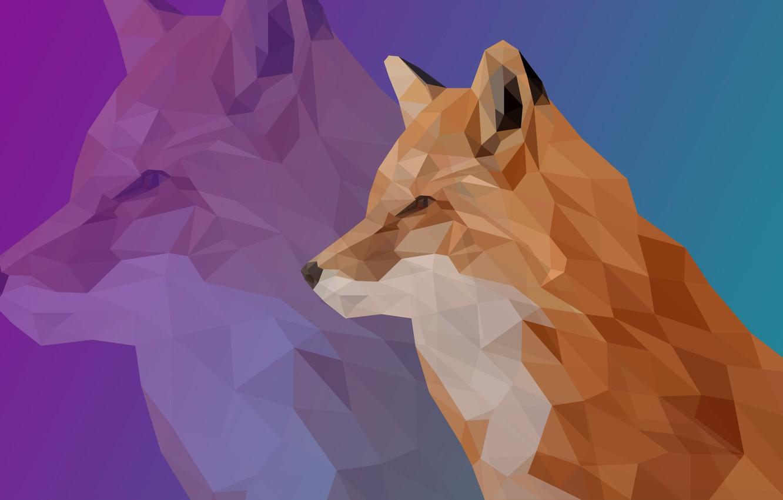 Фото обои лиса, бирюзовый, полигон, fox, low, poly, low poly, полигональная графика, сиренеый