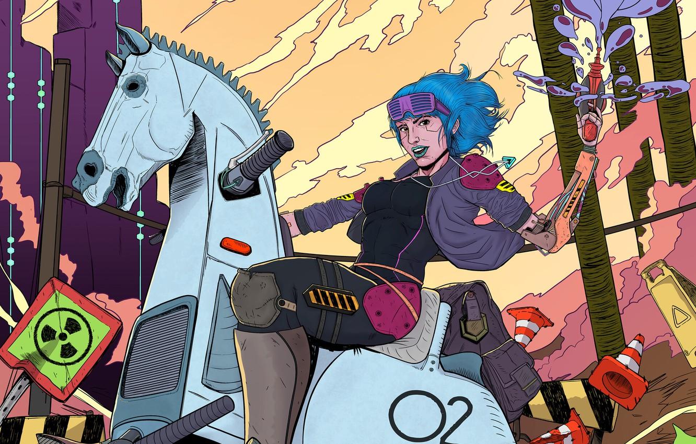 Фото обои Девушка, Лошадь, Стиль, Girl, Конь, Арт, Art, Style, Фантастика, Fiction, Киборг, Illustration, Cyborg, Horse, Cyberpunk, …