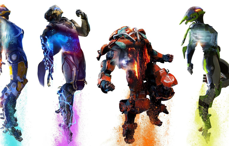 Фото обои game, bioware, Electronic Arts, E3 2018, ANTHEM, RANGER, COLOSSUS, STORM, EXOSUITS, JAVELIN