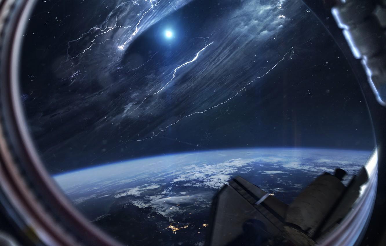 Фото обои Звезды, Планета, Космос, Туманность, Звезда, Свет, Земля, Шторм, Иллюминатор, Light, Молнии, Star, Арт, Stars, Space, ...