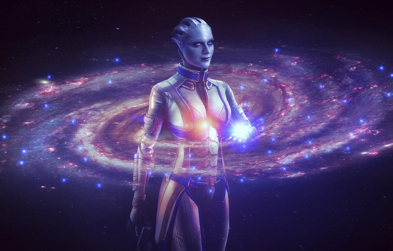 Фото обои космос, звезды, Девушка, галактика, млечный путь, mass effect, персонаж, голограмма, азари, liara t'soni, эван рейчел …
