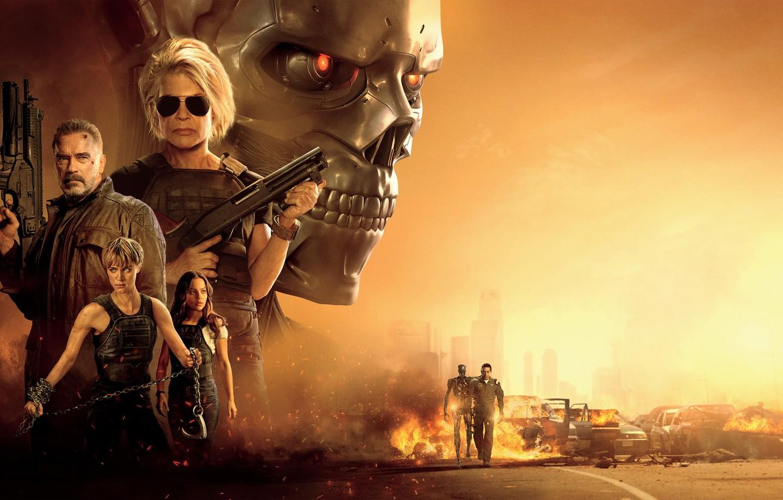 Фото обои Арнольд Шварценеггер, Феникс, Terminator, Терминатор, Arnold Schwarzenegger, Маккензи Дэвис, Mackenzie Davis, Linda Hamilton, Natalia Reyes, …