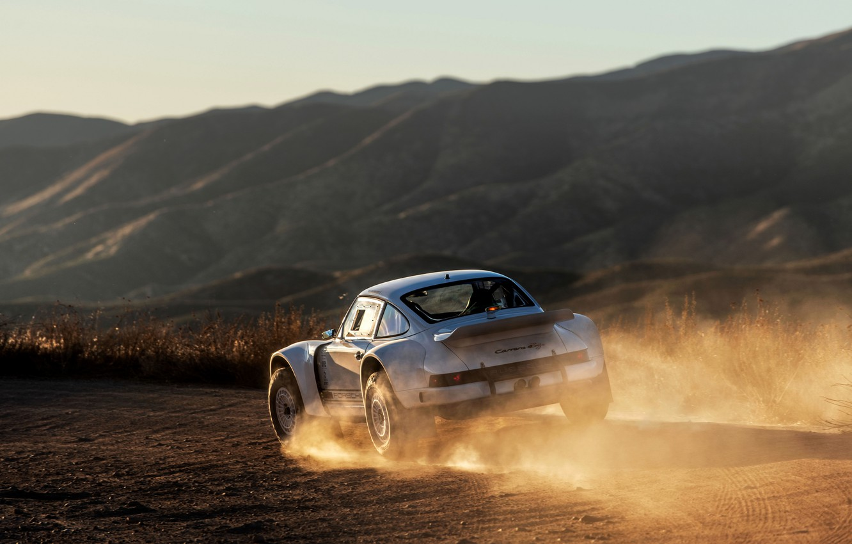 Фото обои горы, холмы, пыль, 911, Porsche, 964, грунтовка, 2019, 911 Baja Prototype, Russell Built Fabrication