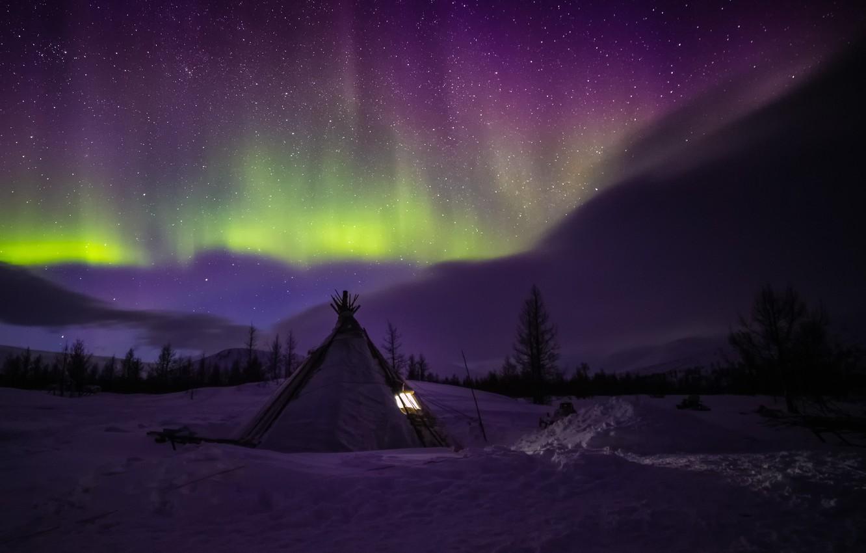 Фото обои зима, снег, пейзаж, ночь, северное сияние, Ямал, чум