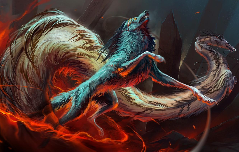 Фото обои движение, скалы, огонь, дракон, волк, fire, rocks, wolf, dragon, fantasy art, movement, fantastic animals, фантастические …