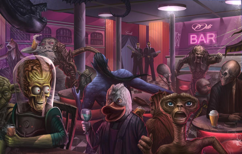 Фото обои Рисунок, Монстр, Star Wars, Стиль, Чужой, Хищник, Кино, Fantasy, Avatar, Art, Звездные Войны, Predator, Инопланетянин, …