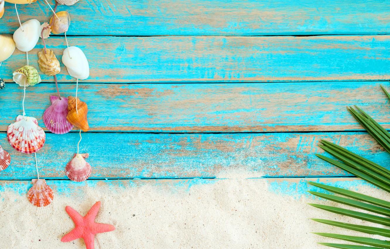 Фото обои песок, пляж, фон, доски, звезда, ракушки, summer, beach, wood, sand, marine, starfish, seashells