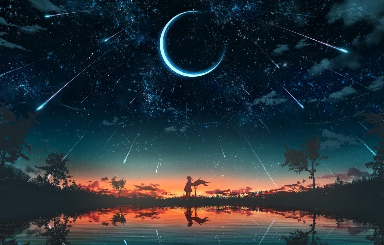 Фото обои девушка, закат, природа, пруд, фэнтези, полумесяц, звездопад
