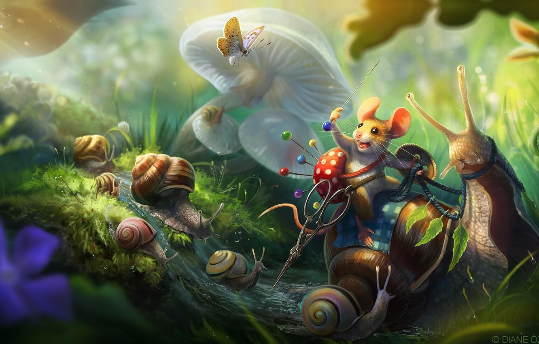 Фото обои ручей, бабочка, грибы, улитка, мышка, воин, фэнтези, арт, ножницы, детская, булавка, игольница, Diane ÖZDAMAR, Tiny …