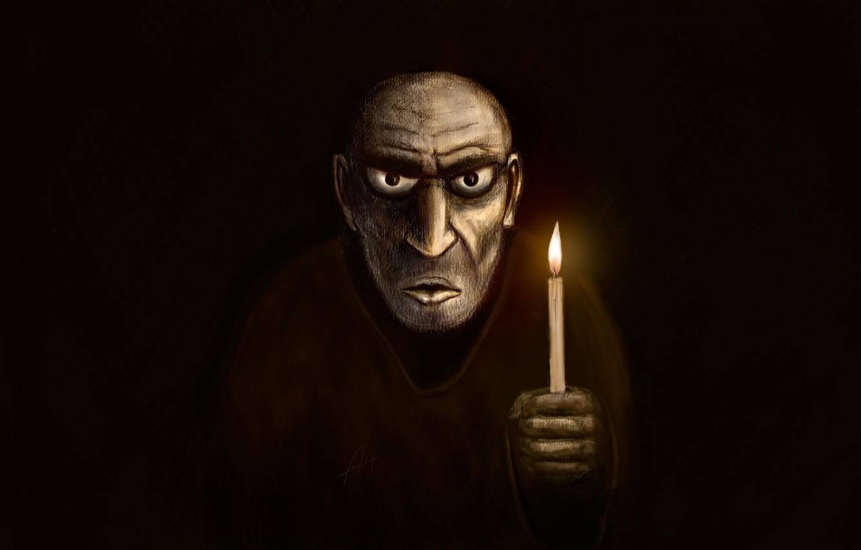 Фото обои ужас в глазах, держит свечку, мракобес