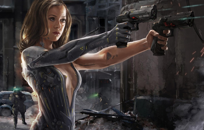Фото обои guns, girl, fantasy, android, science fiction, sci-fi, weapons, digital art, artwork, warrior, fantasy art, cyborg, …
